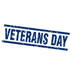 Square grunge blue veterans day stamp vector