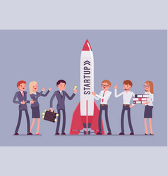 successful startup rocket vector image