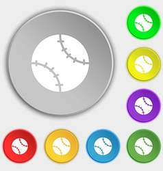 Tennis ball icon sign symbol on eight flat buttons vector