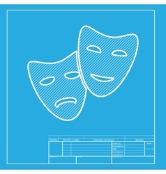 Theater icon with happy and sad masks white vector