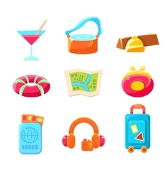 Travel themed objects colorful simplified icons vector