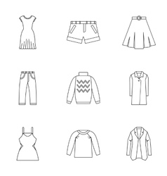 Types of clothes icons set outline style vector image