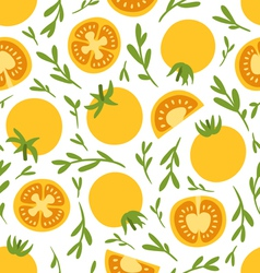 Yellow tomatoes pattern vector