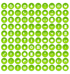 100 grocery shopping icons set green circle vector