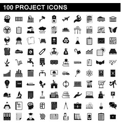 100 project icons set simple style vector image vector image