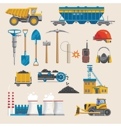 Mining Industry Icon Set vector image