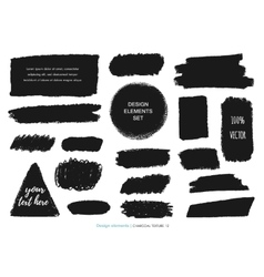 Set of charcoal texture charcoal design vector