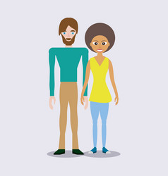 Mixed race couple happy vector