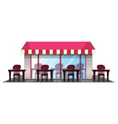 Restaurant design with outdoor dining area vector