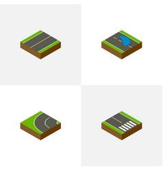 Isometric road set of pedestrian plash plane and vector