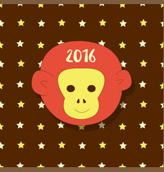New year icon symbol 2016 monkey head on stars vector