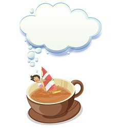 A girl enjoying inside the big cup of choco with vector image