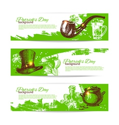 Set of st patricks day banners with hand drawn vector