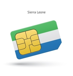 Sierra leone mobile phone sim card with flag vector