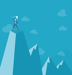 Businessman standing on peak mountain vector