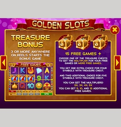 Info screen for slots game 3 vector