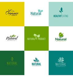 Set of natural and organic products logo templates vector