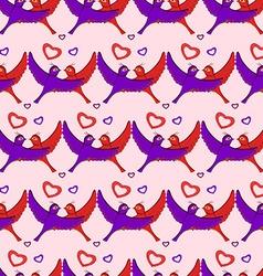Birds hearts pattern vector image