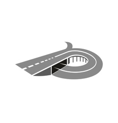 Highway road with bridge abstract icon vector