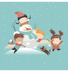 Funny kids playing snowball fight vector
