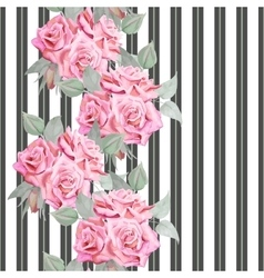 Watercolor red roses seamless pattern with stripes vector