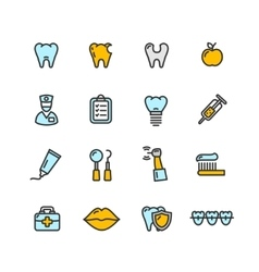 Dental tooth doctor color icon set vector