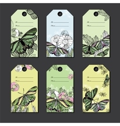 Set hand floral gift tags with butterfly hand vector