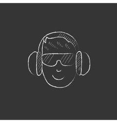 Man in headphones drawn in chalk icon vector