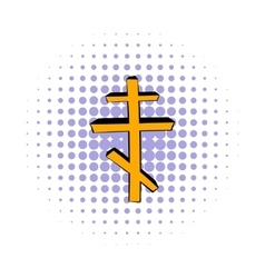 Orthodox cross icon comics style vector