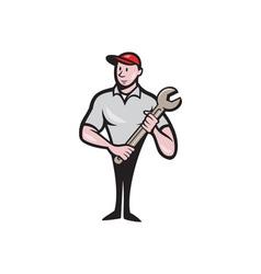 Mechanic worker standing carrying spanner cartoon vector