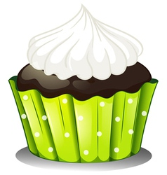 A chocolate cupcake with an icing vector image vector image