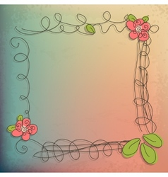 Abstract doodle flower with your text eps 10 vector