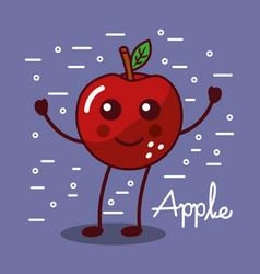 apple fruit kawaii cheerful character food vector image
