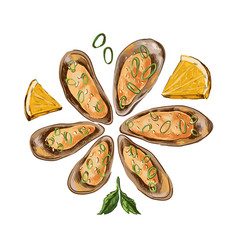 Baked mussels with lemon and onions vector