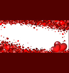 banner with red hearts vector image vector image