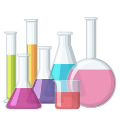 beakers with chemical inside vector image