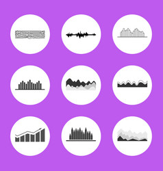 black and white charts and graphics in circles vector image vector image