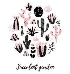 cactus circle vector image vector image