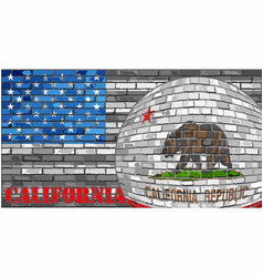 California flag on the grey usa flag background vector