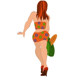 Cartoon girl in orange suit back view vector image vector image