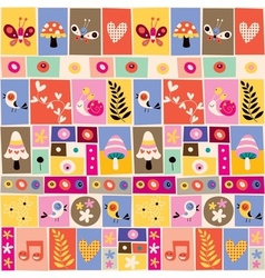 cute flowers birds mushrooms snails collage vector image
