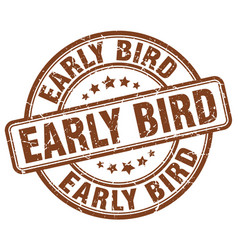 early bird brown grunge stamp vector image vector image