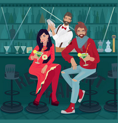 girl and guy sitting at bar with bartender vector image