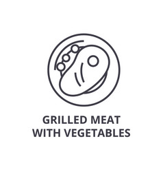 grilled meat with vegetables line icon outline vector image vector image