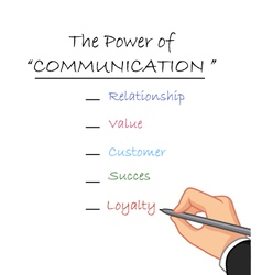 hand writing the power of communication vector image vector image