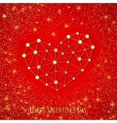 Happy valentines day connected lines and dots vector