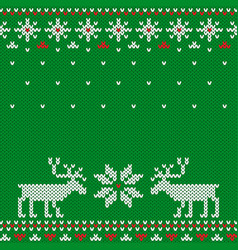 knitted seamless green christmas pattern with deer vector image