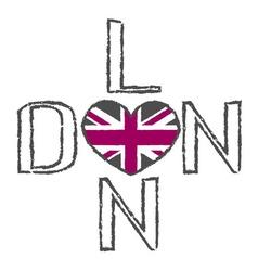 London city t shirt flag heart vector