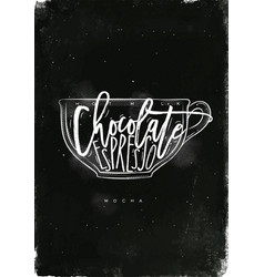 Mocha cup chalk vector