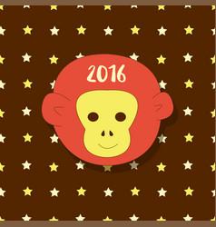 New year icon symbol 2016 monkey head on stars vector